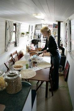 Creative & Cozy Caravan/RV/Boat Interior Design Ideas - napier news Barge Boat, Canal Barge, Small Space Living, Tiny Living, Small Spaces, Canal Boat Interior, Narrowboat Interiors, Houseboat Living, Living On A Boat
