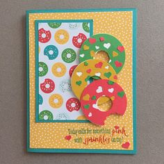MidnightCrafting National Doughnut Day Cherry on Top Stampin Up Confetti Hearts Punch Remembering Your Birthday handmade rubber stamping punch art cardmaking