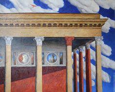 Купить Динамо №2. Масло, холст - комбинированный, красно-синий, облака, дейнека, колонны