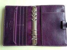 My Filofax Personal Purple Malden. Journal Inspiration, Filofax Malden, Leather Book Covers, Notebook Case, Leather Portfolio, Planner Organization, Organizing, Day Planners, Life Planner
