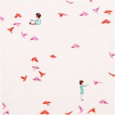 children and bird fabric Michael Miller With The Birds. Use as wallpaper for accent wall