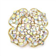 gold crystal flower ladies womens fashion dress brooch | 14577 | £11.50