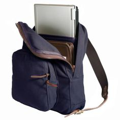 Duluth Pack Standard Laptop Daypack Navy - One Size Burly 18-ounce canvas construction with Slip pockets in front compartment to hold everyday necessities.. Adjustable cotton web shoulder straps with nylon web grab handle.. Padded sleeve accommodates laptops to 15H x 16W (padded to 14) x 1.5D. 18H x 14W x 5D + pocket. Made in USA & Guaranteed for Life.  #DuluthPack #Apparel