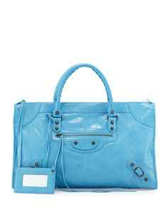 BALENCIAGA Classic Work Lambskin Tote Bag, Blue. #balenciaga #bags #leather #hand bags #lining #tote #cotton