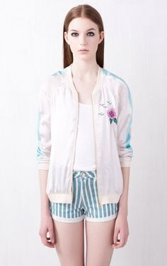 Flower Embroidery Leisure Bomber Jackets-$15.90FREE SHIPPING