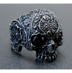 .925 Oxydized Silver Skull Sugar Flower Ring Black Onyx