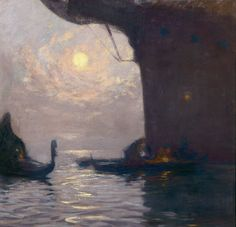 Venice au Clair de Lune - Gaston La Touche French oil on canvas, Moonlight Painting, Boat Painting, Painting Prints, Nocturne, Pop Art, Post Impressionism, Art Moderne, Gaston, Les Oeuvres