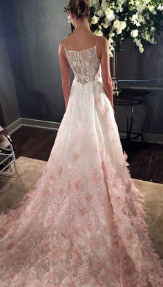 V-neck silk organza ball gown wedding dress with blush ombre floral @kellyfaetanini