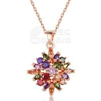 Barbara丨Colorized AAA Cubic Zircon 18K Gold Plated Rhombus Pendants Necklaces