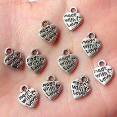 20 métal argenté breloque coeur serrure faite avec amour Jewellery Making Charm Bracelet