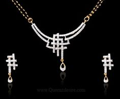 American Diamond Mangalsutra [QDIAD025A] Jewelry Sets, Gold Jewelry, Jewelry Rings, Diamond Mangalsutra, Gold Pendent, Bollywood Jewelry, Silver Rings With Stones, Necklace Designs, Indian Jewelry