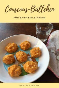 Aus Couscous und Gemüsebrei lassen sich ganz einfach leckere Couscous-Gemüse-Bällchen formen, die das Baby mit der Hand probieren kann. Ideal für alle Fans von Babyledweaning und breifrei-Babys: http://www.breirezept.de/rezept_coucous-gemuese-baellchen.html