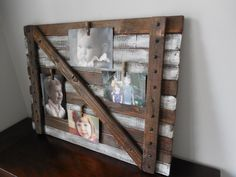 Picture  frame Large Rustic/shabby chic wall hanging / farmhouse barn door. $95.00, via Etsy.