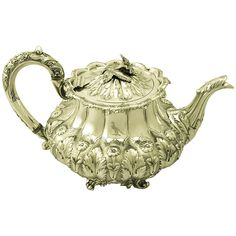 Antique Early Victorian Sterling Silver Teapot | From a unique collection of antique and modern tea sets at https://www.1stdibs.com/furniture/dining-entertaining/tea-sets/