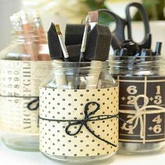 Instead of the cans in my previous post, I could use glass jars or vases to organize my office/craft supplies.