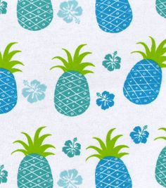 "Snuggle Flannel Print Fabric 42""-Blue Green Pineapple"