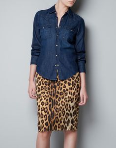DENIM SHIRT WITH GOLDEN BUTTON - Shirts - ZARA United States Printed Skirt  Outfit 909021ad36f6