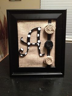 DIY Burlap framed b board Burlap Projects, Burlap Crafts, Diy Projects To Try, Craft Projects, Craft Ideas, Polka Dot Letters, Diy Letters, Polka Dots, Cute Crafts