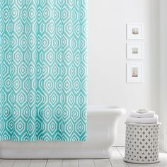 PB Teen Pintuck Shower Curtain, White at Pottery Barn Teen - Shower... ($59) ❤ liked on Polyvore featuring home, bed & bath, bath, shower curtains, pbteen and white shower curtains
