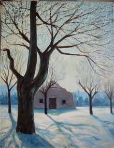 southwest winter scene original oil painting by js willis australian artist