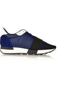 Balenciaga Suede, mesh and quilted shell sneakers | NET-A-PORTER