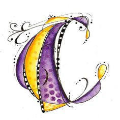 C by Martha Lever via flicker. There is more wonderful work here for the art journal calligraphy fans: Tangle Doodle, Doodles Zentangles, Zentangle Patterns, Doodle Lettering, Creative Lettering, Typography, Creative Art, Doodle Drawings, Doodle Art