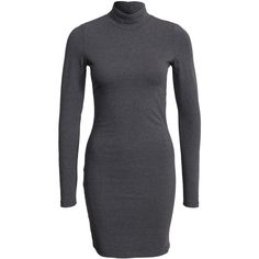 Jacqueline De Yong Jdysia Turtleneck L/S Dress Jrs ($18) ❤ liked on Polyvore featuring dresses, dark grey, womens-fashion, stretchy dresses, turtle neck dress, turtleneck dress, turtleneck tops et figure hugging dress