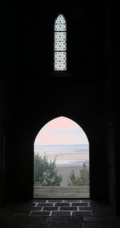Arched doorway framing view