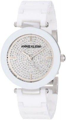 a7c9c66450e Relógio Anne Klein Women s AK 1019PVWT Ceramic Silver-Tone Pave Dial Watch   Relogios