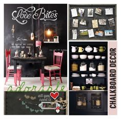 """""""Chalkboards decor"""" by nicolevalents ❤ liked on Polyvore featuring interior, interiors, interior design, home, home decor, interior decorating and Sugarboo Designs"""