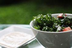 Raw Kale Salad + Outstanding Miso Sesame Dressing | Choosing Raw