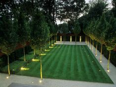 , A formal garden features a lush lawn bordered by evenly spaced trees and a pale paved surface. Strategically placed landscape lighting illuminate the . , A formal garden features a lush lawn bordered by evenly spaced trees and a pale . Formal Garden Design, Rectangle Garden Design, Garden Modern, Modern Gardens, Hardscape Design, Lush Lawn, Backyard Landscaping, Landscaping Ideas, Modern Landscaping