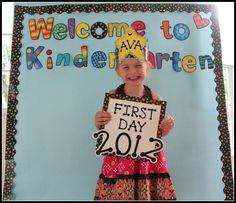"""Using CTP's Dots on Black Border and Welcome to Kindergarten Punch-Out Phrases create a backdrop. Next, create a """"first day"""" sign for students to hold. It's extra fun to throw in a personalized crown for the students to wear; all this takes is decorating a You're a Star Crown with Black Dot-to-Dot Designer Letter Stickers. Take a """"first day"""" photo of each student with this frame, crown, and coordinating backdrop, and display in the classroom and later in the year give to parents at Open…"""