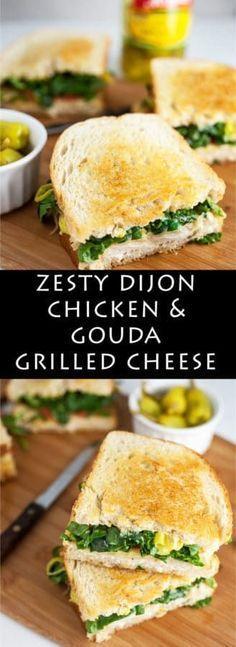 Zesty Dijon Chicken and Gouda Grilled Cheese | Grilled Cheese | Sandwich recipes | Chicken #ad #DontForgettaMezzetta
