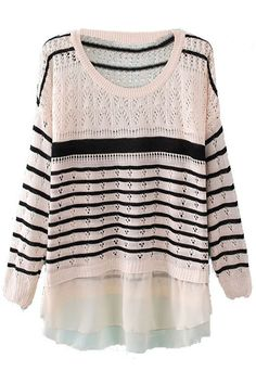 Striped Panel Cream Jumper