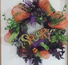 Halloween Spooky Holiday/Fall/Autumn Wreath Deco-Mesh Purple Orange Green Fun Funky Door Decor by 1ArtsyVixen on Etsy