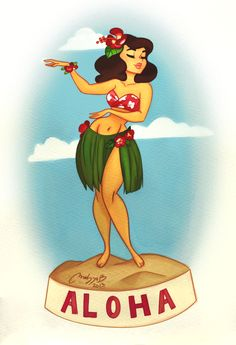 tiki pin up painting Hawaiian Girl Tattoos, Hula Girl Tattoos, Pin Up Girl Tattoo, Hawaiian Girls, Hawaiian Dancers, Hawaiian Art, Vintage Hawaiian, Bruce Timm, Dancer Drawing