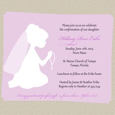Confirmation or First Communion Invitations, Christening Invites,  Set of 10 with Envelopes, Free shipping. $7.00, via Etsy.