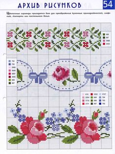Crossstitch Roses / Flowers Pattern for embroidery Cute Cross Stitch, Cross Stitch Bird, Cross Stitch Borders, Cross Stitch Flowers, Counted Cross Stitch Patterns, Cross Stitch Charts, Cross Stitch Designs, Cross Stitching, Cross Stitch Embroidery