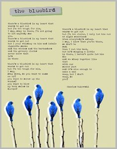 """Bukowski was no Wallace Stevens or Ezra Pound (American poets who wrote complex, abstruse verse). Most of his poetry is clear and unadorned. """"Bluebird"""" represents Bukowski's sensitive and tender side, which he sometimes shows in his poetry and in . Charles Bukowski Citations, Charles Bukowski Quotes, Pretty Words, Beautiful Words, Beautiful Lyrics, Laura Makabresku, Bird Poems, Heart Poster, Poem Quotes"""