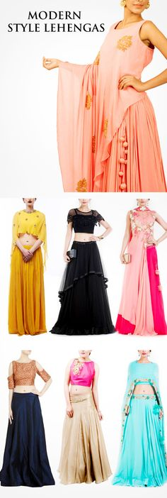 Online shopping for Lehenga, Lehenga Choli sets from top Indian designers. Also buy the latest collection of Indian bridal lehengas & wedding lehengas Western Dresses, Indian Dresses, Indian Outfits, Simple Outfits, Boho Outfits, Fashion Outfits, Choli Designs, Blouse Designs, Look Short