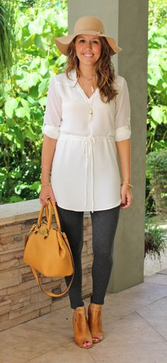 White shirt dress/tunic with grey leggings | J's Everyday Fashion