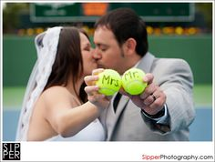 Mr. and Mrs. Tennis Balls for couple who got married at the Newport Beach Tennis Club