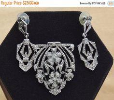 On Sale Beautiful Vintage Art Deco Faux Marcasite, Rhinestone Brooch, Pierced Earring Set, Demi Parure, Silver tone (T1)