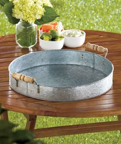 Rustic Farm Galvanized Metal Handled Serving Tray Picnic Bar B Que for sale online Galvanized Tray, Bar B Que, Round Tray, Corrugated Metal, Summer Gifts, Metal Trays, Wooden Handles, Home Decor Accessories, A Table