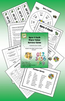 Place Value Spinner Games pack - Includes 2 fun math games for cooperative learning groups or centers, Spin 4 Cash and Spin 2 Win. Targets 4th grade Common Core Standards NBT.2 and NBT.3 but is also a great whole number review for 5th grade. $4.00