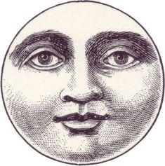 Vintage Labels free-vintage-illustration-moon-face - Celestial themed crafts and decor appeals to a wide range of ages! Art Antique, Art Vintage, Vintage Images, Vintage Roses, Tattoo Mond, Abstract Face Art, Abstract Landscape, Moon Drawing, Moon Face