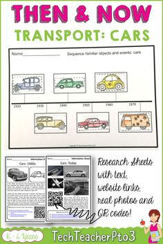 Research social studies activities with kids by using this super easy set of lesson activities. Then and Now history of the car looks at how transportation with vehicles has changed over the years. Includes a cut and paste timeline, graphic organisers, QR codes, research sheets and colour pages, Everything you need for the primary classroom social studies unit. #socialstudies #research #activities #history #teacherspayteachers