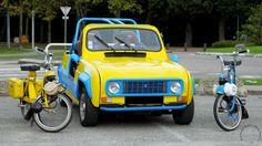 Beauvais (60) . rendez-vous mensuel de véhicules anciens . Renault 4 plein air et vélo solex  !