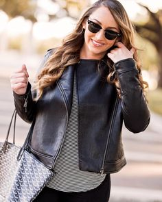 When I first saw this leather jacket I definitely didnt think I was cool enough to pull it off but I just love the fit so much! So Im compiling a few different ways to style a leather jacket for all you girly girls like me!  in the meantime grab this one while its 40% off!  @liketoknow.it #liketkit http://liketk.it/2thvF #ltksalealert #leather #styletip #jacket